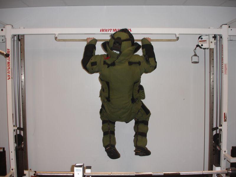 Steve O in bomb suit
